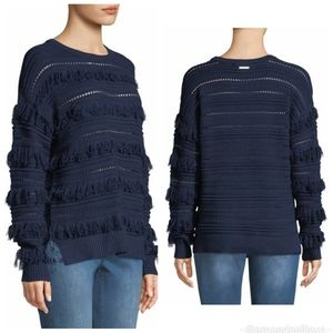 Michael Kors Fringed Cable Knit Crew Neck Sweater
